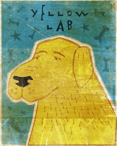 Yellow,Labrador,Print,8,in,x,10,Art,Illustration,digital,whimsical,cute,dog,labrador,retriever,animals,animal,yellow,paper,ink