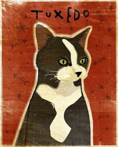 Tuxedo,Cat,Print,8,in,x,10,Art,Illustration,digital,whimsical,cute,animals,animal,cat,tuxedo,black,white,red,paper,ink