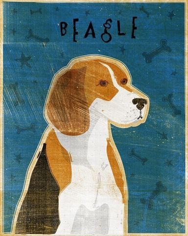 Beagle,Print,Art,Illustration,digital,whimsical,cute,dog,animal,beagle,blue,paper,ink