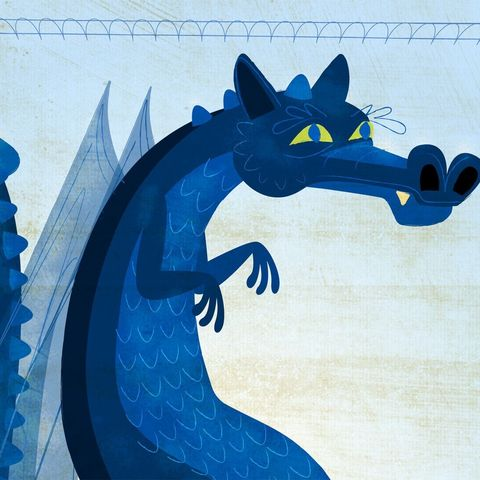The,Smooth-Backed,Irish,Blue,Print,8,in,x,10,children,illustration,print,digital,art,blue,dragon,hedgehog,animal,cute,kids,kid,brown