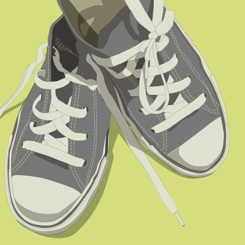 Lowtops,Gray,on,Light,Background,8,in,x,Print,-,U,Pick,the,Color,Art,Illustration,retro,vintage,shoes,lowtops,gray,grey,yellow,mint,pink,blue,pastel_decor,paper,computer