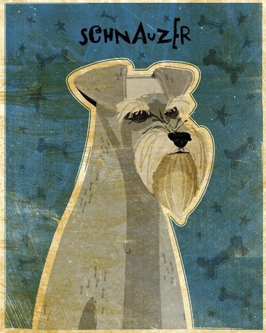 Schnauzer,Print,8,x,10,Art,Illustration,digital,whimsical,cute,dog,animals,animal,schnauzer,paper,ink