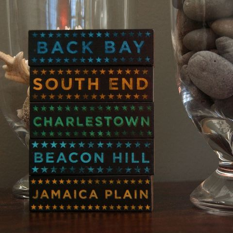 Boston,Hoods,on,Wood,-,Five,Art,Block,Set,Pick,the,Illustration,Digital,wood,block,black,gift,neighborhood,back_bay,beacon_hill,charlestown,south_end,jamaica_plain,boston,massachussets,paper,ink,glue,sealer