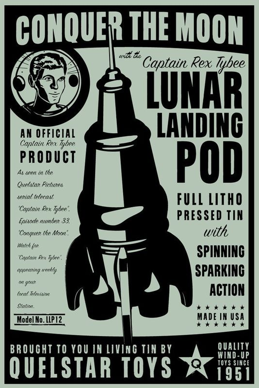 Lunar Landing Pod Tin Toy Rocket Box Art Print 8 in x 12 in - product images
