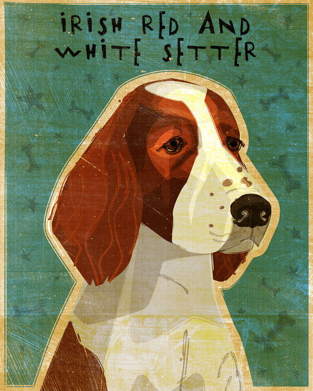 Irish Red and White Setter Dog Art - Various Sizes - product images