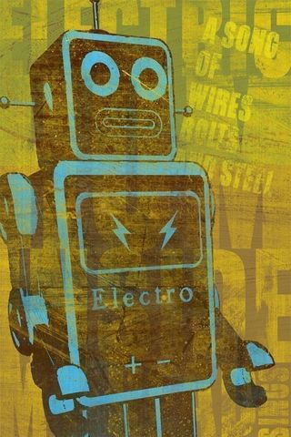A,Song,of,Wires,8,in,x,10,Print,Art,Illustration,painting,print,digital,robot,kitsch,yellow,blue,brown,space,scifi,paper,ink