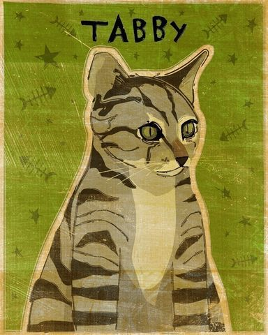 Gray,Tabby,Print,8,in,x,10,Pets,illustration,print,digital,whimsical,cute,animals,animal,cat,gray,green,paper,ink