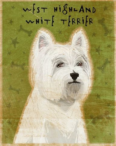 West,Highland,White,Terrier,Print,8,in,x,10,Art,Illustration,digital,whimsical,cute,dog,animal,terrier,westie,west,highland,white,blue,paper,ink
