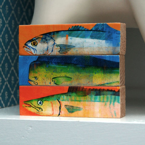 Fish,Sticks,-,Saltwater,Art,Block,Set,of,3,Illustration,Digital,wood,block,fathers_day,dad,fathers_day_gift,saltwater,fish,fisherman,fishing,mackerel,marlin,mahi_mahi,paper,ink,glue,sealer