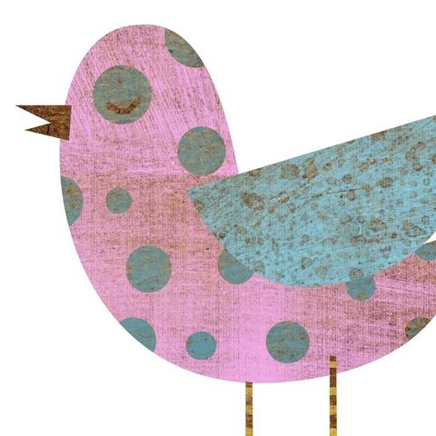 Pinkish,Blue,Polka,Dot,Bird,Collage,Print,5,in,x,7,Art,Illustration,digital,parental,john_w_golden,kids,nursery,pink,blue,bird,collage,paper,computer