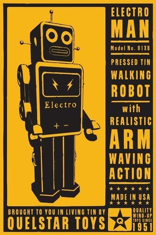 ElectroMan,Tin,Toy,Robot,Box,Art,Print,8,in,x,12,Digital,digital,paper,print,robot,cute,art,children