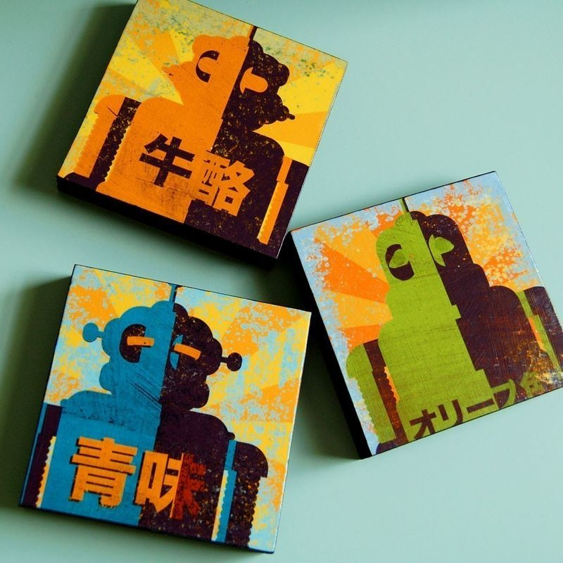 Minibot Series Art Blocks - Set of 3 - 4 in x 4 in - product images  of