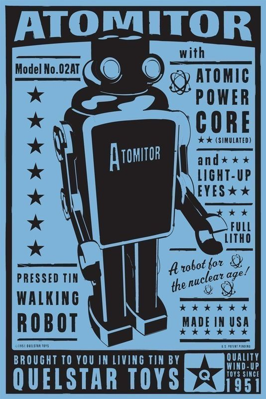Atomitor Tin Toy Robot Box Art Print 8 in x 12 in - product images