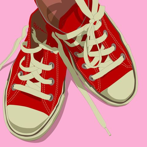 Lowtops,Red,on,Pink,8x8,Square,art,illustration,print,digital,kitsch,retro,vintage,shoes,lowtops,red,pink,paper,computer