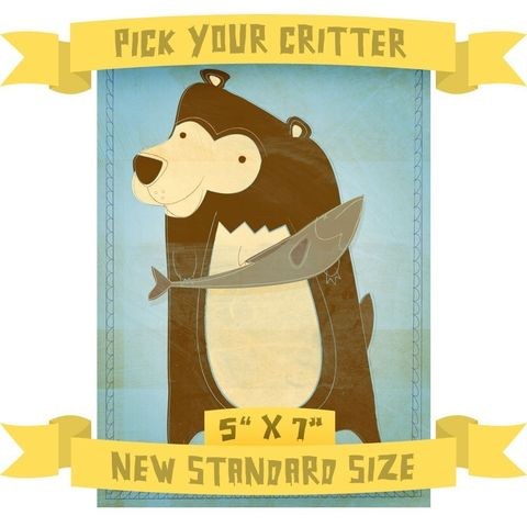 5,in,x,7,-,Pick,Your,Critter,1,Illustration,Children,Art,Print,kids,kid,print,cute,children,animal,hedgehog,bear,possum,art,digital,nursery,woodland,paper