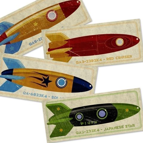 Rocket,Prints,Set,of,Four,9.25,in,x,4,Art,Illustration,Print,toddler,illustration,print,digital,john_w_golden,children,rocket,paper,computer