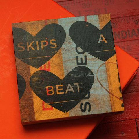Skips,a,Beat,Art,Block,-,4,in,x,Illustration,Digital,reproduction,wood,block,heart,love,valentine,valentine_men,valentine_women,valentines_day,valentine_decor,mustard_art,paper,ink,glue,sealer