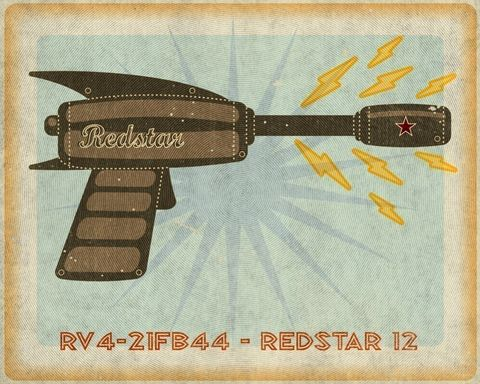Redstar,Raygun,Tin,Toy,Box,Art,Print,8x10,Illustration,digital,john_w_golden,children,kitsch,ray_gun,tin_toy,raygun,paper,computer