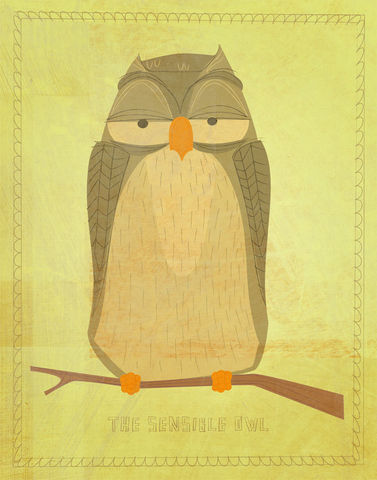 The,Sensible,Owl,Print,11,in,x,14,Art,Illustration,digital,owl,woodland,critter,johnwgolden,jewelry,children,green,paper,ink