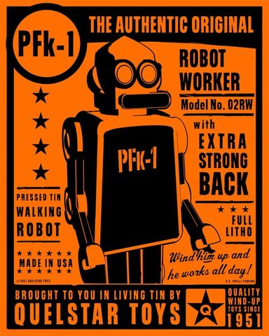 PFk-1,Tin,Toy,Robot,Box,Art,Print,Illustration,Digital,digital,paper,print,robot,cute,children,orange