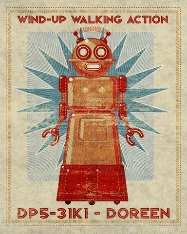 Doreen,Box,Art,Robot,Print,8,in,x10,Illustration,Digital,toddler,illustration,print,digital,john_w_golden,children,robot,red,teal,paper,computer