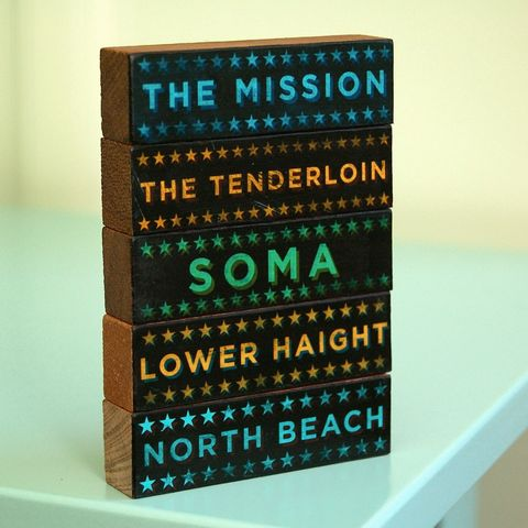 San,Francisco,Hoods,on,Wood,-,Five,Art,Block,Set,Pick,the,Illustration,Digital,wood,block,black,gift,neighborhood,type,graduation_gift,text,san_francisco,mothers_day_gift,fathers_day_gift,paper,ink,glue,sealer