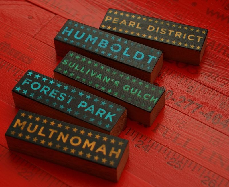 Hoods on Wood - Five Art Block Set - Portland, Oregon Pick Your Hoods - product images  of
