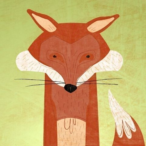 The,Crooked,Fox,Print,8,in,x,10,Children,Art,fox,kids,art,illustration,print,digital,paper,critter,green,brown,computer