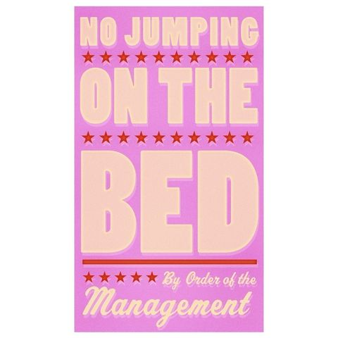 No,Jumping,on,the,Bed,(Pink),Print,6,in,x,10,Children,Art,art,illustration,print,digital,parental,john_w_golden,jumping,bed,red,pink,girl,nursery,paper,computer