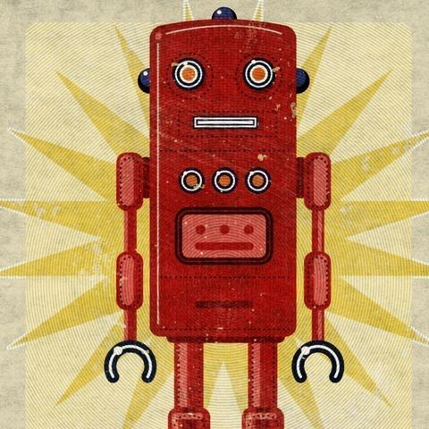 Robot,Art,Print,-,Ted,Box,8,in,x,10,Illustration,digital,john_w_golden,robot,science_fiction,gift,geekery,robot_art,tin_toy_robot,red,space_toys,paper,computer
