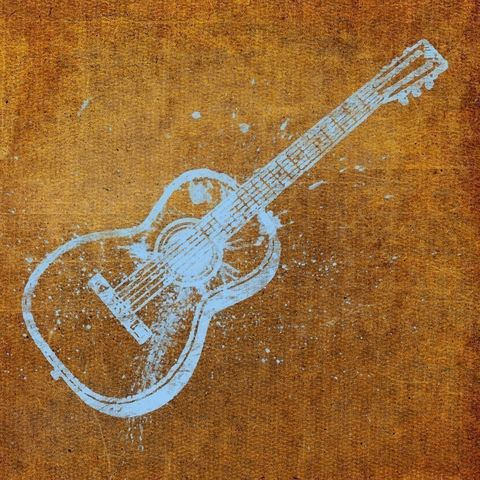 Guitar,Print,8,in,x,Art,Illustration,painting,mixed_media,altered,vintage,johnwgolden,guitar,brown,blue,paper,camera
