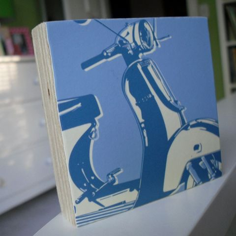 Motoretta,Art,Block,-,3,in,x,Illustration,Print,digital,john_w_golden,moped,scooter,vespa,blue,mod,block,reproduction,paper,computer,wood,glue,sealer