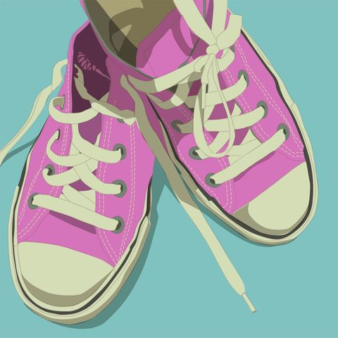 Lowtops,Pink,on,Aqua,Blue,8x8,Square,Art,Illustration,Print,digital,kitsch,retro,vintage,shoes,lowtops,pink,aqua,paper,computer