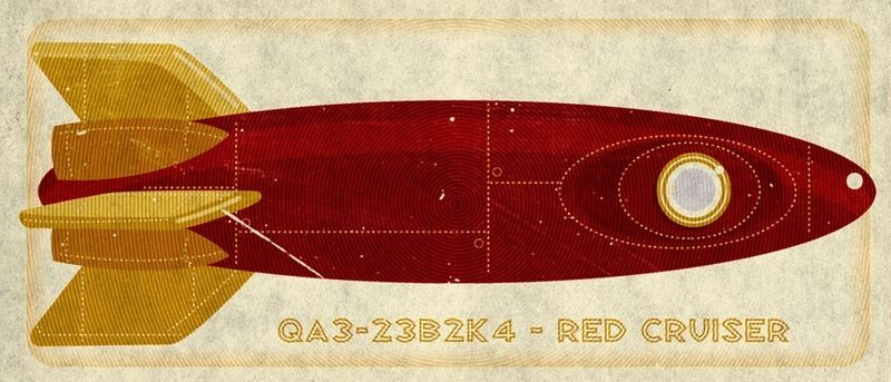 Red Cruiser Tin Toy Rocket Box Art Print 7.78 in x 18 in - product images  of