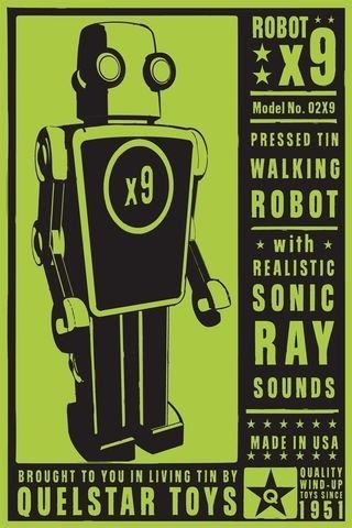 x9,Tin,Toy,Robot,Box,Art,Print,art,digital,paper,print,robot,cute,children,green,black