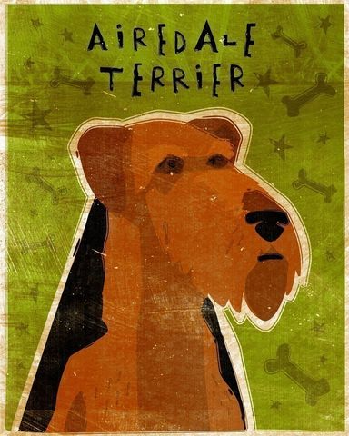 Airedale,Print,(Fido,Series),Art,Illustration,digital,whimsical,cute,dog,animals,animal,terrier,airedale,paper,ink