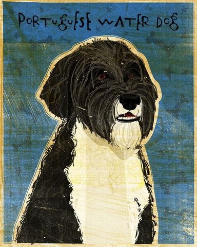 Portuguese,Water,Dog,Print,Art,Illustration,digital,whimsical,cute,dog,animals,animal,portuguese,water,paper,ink