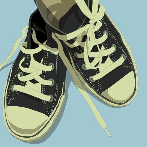 Lowtops,Black,on,Baby,Blue,Print,8,in,x,Art,Illustration,digital,kitsch,retro,vintage,shoes,lowtops,black,light_blue,blue,paper,computer
