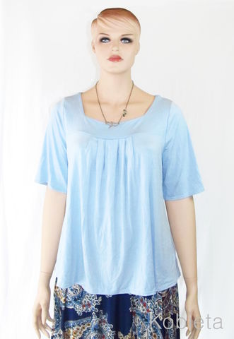 Sky,Blue,Babydoll,Tunic,-,Ready,To,Ship,Size,XL(US,16-18),plus size babydoll tee, plus size babydoll,empire waist, plus sized fashion, eco friendly, organic, bamboo tee, ethical fashion, slow fashion, handmade, made in the usa