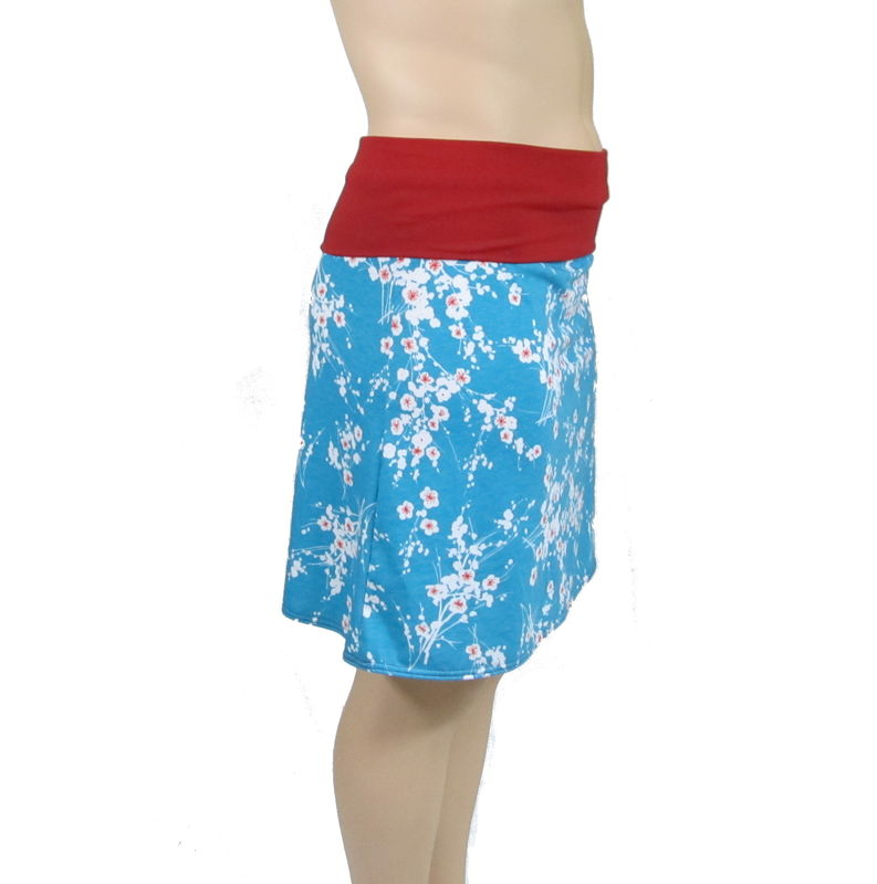 Poppy Red Blossoms on Tropical Teal - Custom Size Skirt -Your choice of A-Line or 1/2 Circle - All Sizes Welcome - product images  of