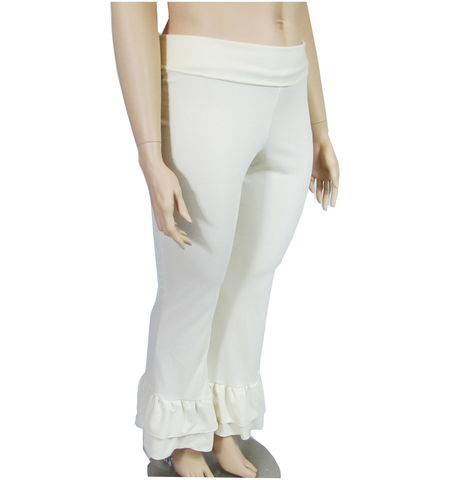 The,Kobieta,Double,Flounce,Ruffle,Cuff,Pants-,READY,TO,SHIP-,Ivory,Cream,,Size,14/16,womens ruffled pants,ruffled yoga pants, womens plus size pants,womens petite pants,yoga pants,custom yoga pants,bootleg yoga pants,made to measure,custom color yoga pants, ruffled cuff pants,bamboo