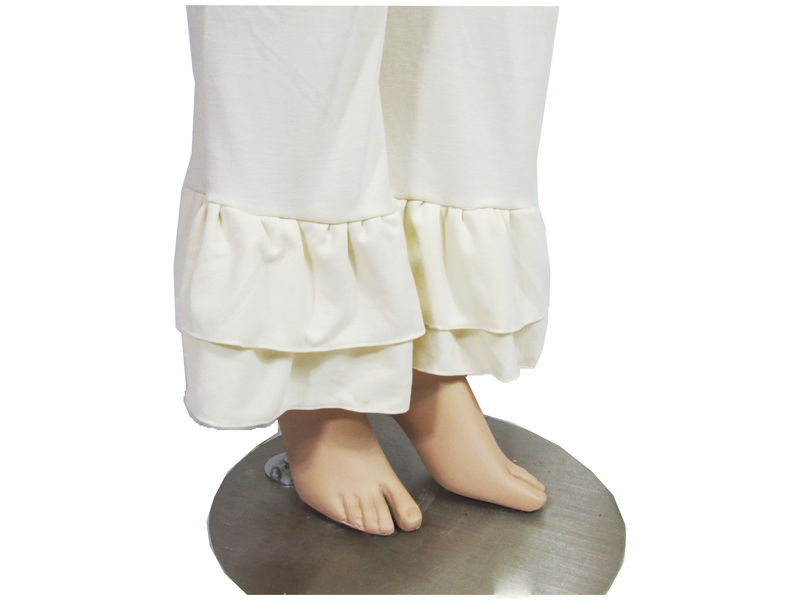 The Kobieta Double Flounce Ruffle Cuff Pants- READY TO SHIP- Ivory Cream, Size 14/16 - product images  of