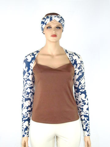 Kobieta,Blue,&,Cream,Scrolling,Print,Yoga,Shrug,with,Matching,Headband/Wrap-Bamboo,Jersey-,Size,M/L,yoga shrug, bamboo yoga shrug, ballet arms, handmade ballet arms, handmade yoga shrug,