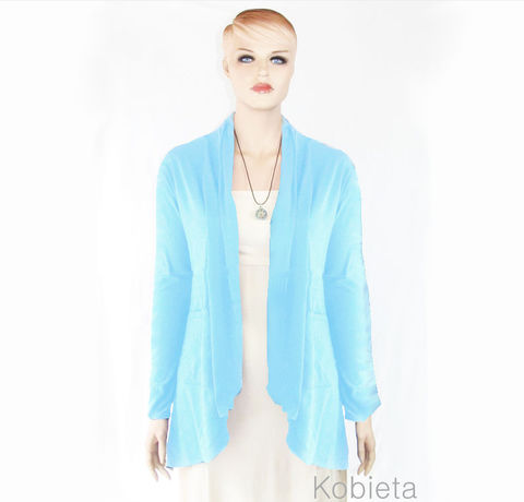 The,Kobieta,Artiste,Pocketed,Cardigan-READY,TO,SHIP,in,Serenity,Blue,-Sizes,L/XL,pocketed cardigan, cardigan with pockets,  womens cardigan,bamboo cardigan,kobieta,bamboo wrap,stretch knit wrap,custom size, short sleeve cardigan,cardigan pockets, bamboo