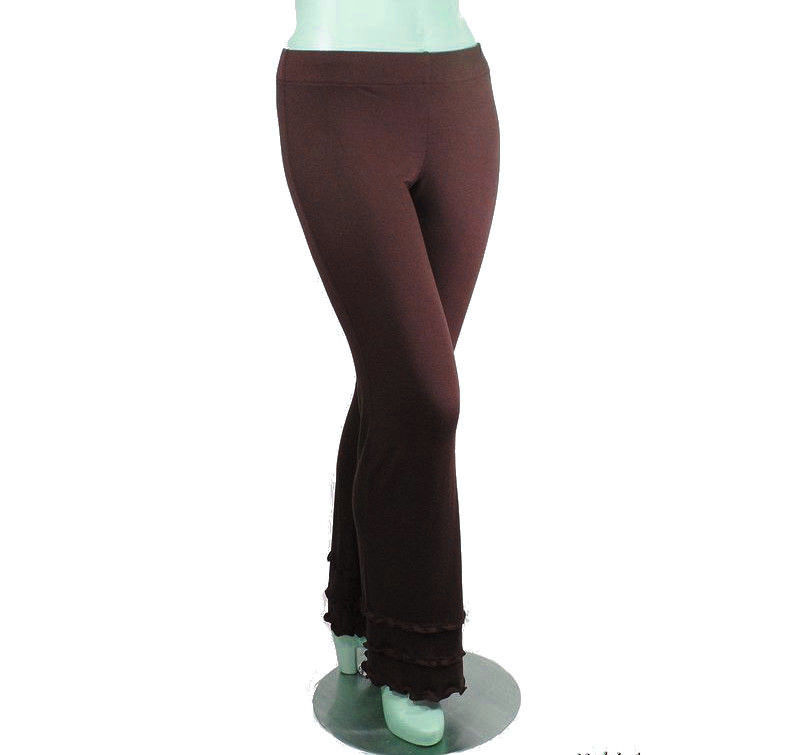 Kobieta Triple Ruffle Hem Yoga Pants in Organic Bamboo/Cotton, Bootcut Pants - Ready to Ship- Chocolate Brown - Size Medium/Large - product images  of