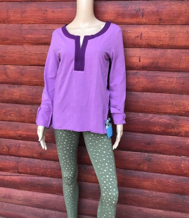 Of The Earth Kurti Inspired Tunic in Organic Cotton- Lavender/Eggplant- Size Medium - product images  of