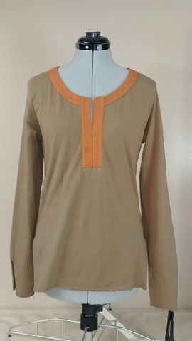 Of,The,Earth,Kurti,Inspired,Tunic,in,Organic,Cotton-,Light,Brown/Burnt,Orange-,Medium,organic cotton tunic, organic cotton shirt, hippy organic shirt, organic hippy clothes, hipster tunic, fair trade tunic