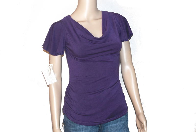 The Kobieta Siren Shirt, Ready to Ship in Size Small/Med, Hand Dyed Eggplant Purple Bamboo Jersey - product images  of