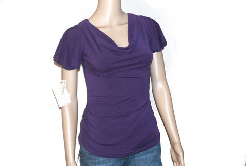 The,Kobieta,Siren,Shirt,,Ready,to,Ship,in,Size,Small/Med,,Hand,Dyed,Eggplant,Purple,Bamboo,Jersey,organic shirt, bamboo purple tunic, bamboo ruched tunic, eggplant tunic, ethical clothing, handmade tunic