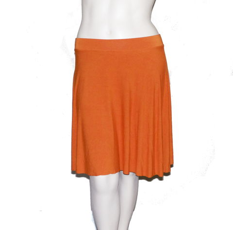 Kobieta,Bamboo,Jersey,Half,Circle,Skirt,in,Hand,Dyed,Orange-,Size,Large/XL,bamboo circle skirt, bamboo skirt, handmade skirt